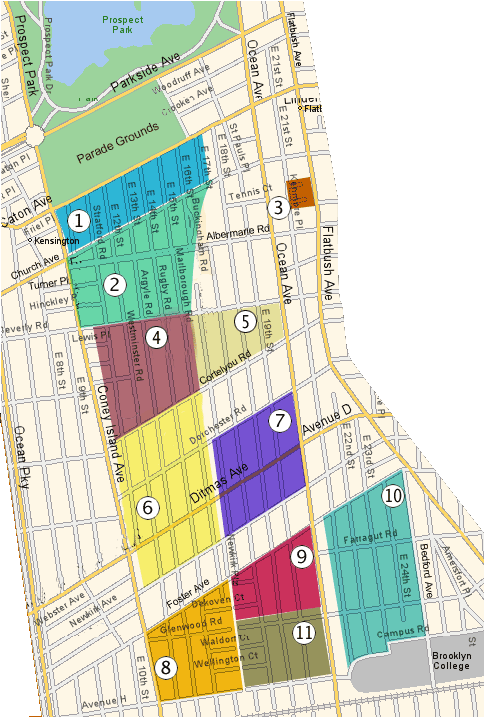 Map of Victorian Flatbush. Map Legend: 1. Caton Park 2. Prospect Park South 3. Albermarle-Kenmore Terrace 4. Beverly Square West 5. Beverly Square East 6. Ditmas Park West 7. Ditmas Park 8. West Midwood 9. Midwood Park 10. South Midwood 11. Fiske Terrace Courtesy of Mary Kay Gallagher Real Estate (marykayg.com).